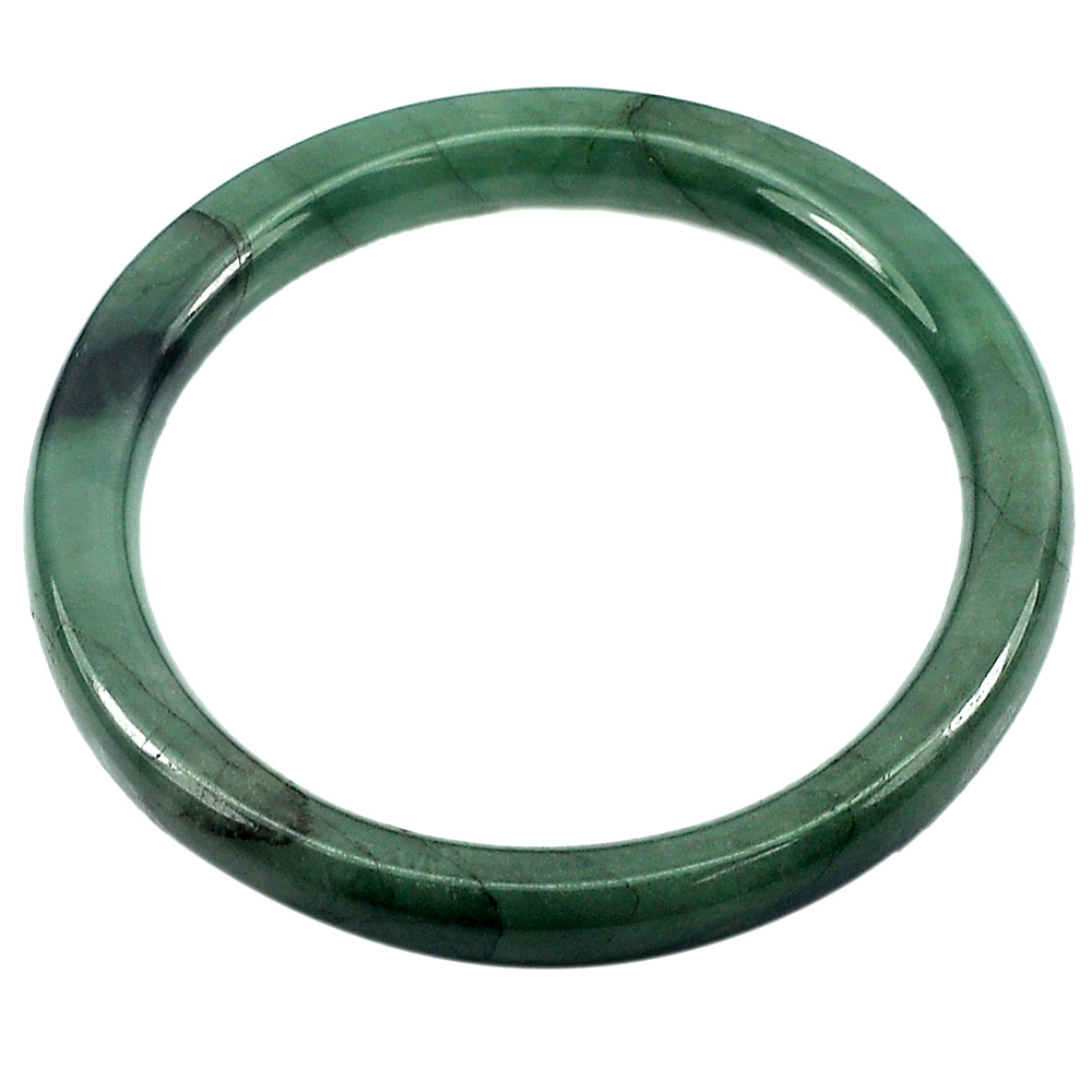 201.74 Ct. Natural Gemstone Green Jade Bangle Size 74 x 58 x 8 mm. Unheated