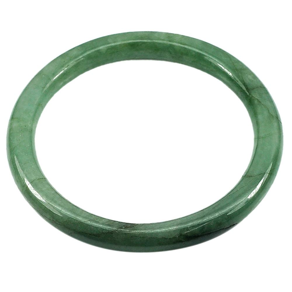 162.58 Ct. Natural Gemstone Green Jade Bangle Size 73 x 58 x 8 mm. Unheated