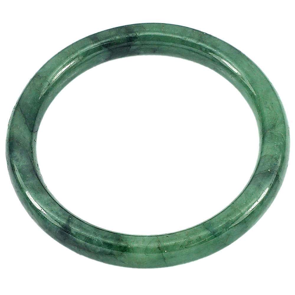 187.81 Ct. Natural Gem Green Color Jade Bangle Size 72 x 57 x 7 mm. Unheated