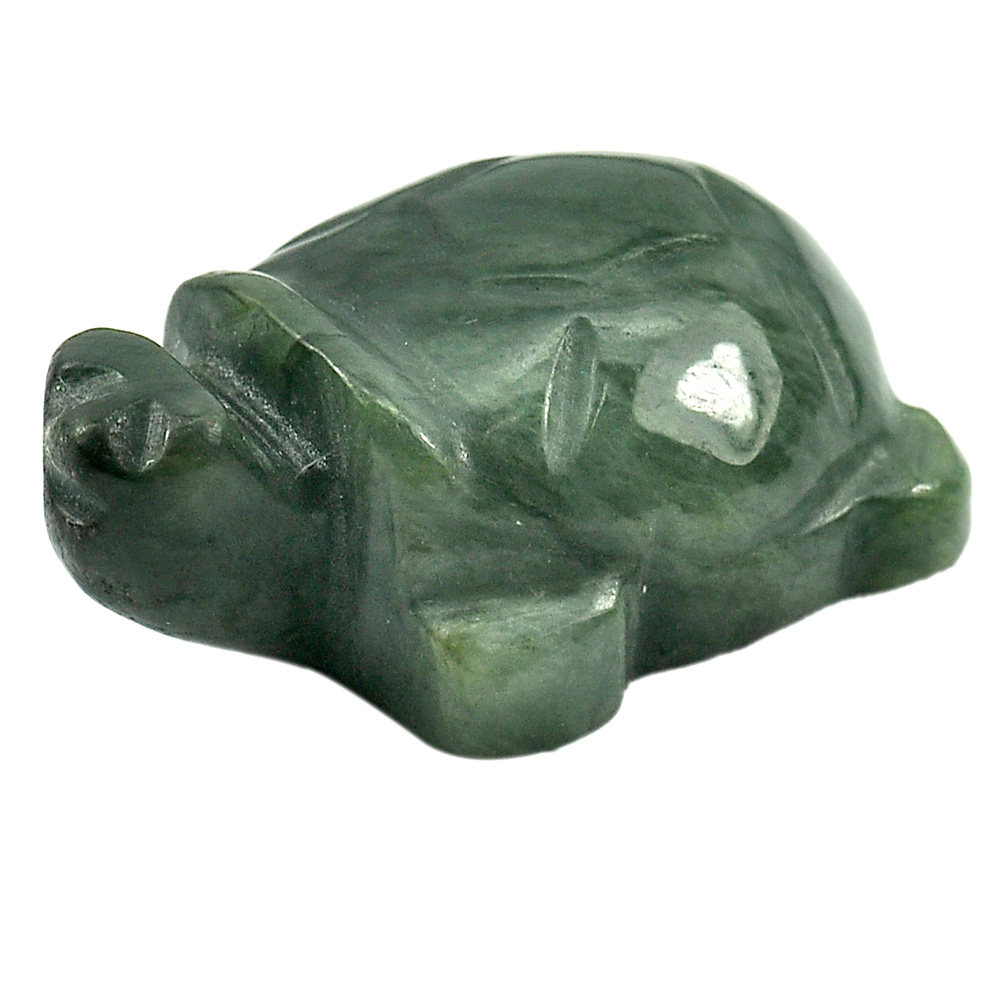 104.71 Ct. Nice Natural Gemstone Green Color Jade Turtle Carving Unheated