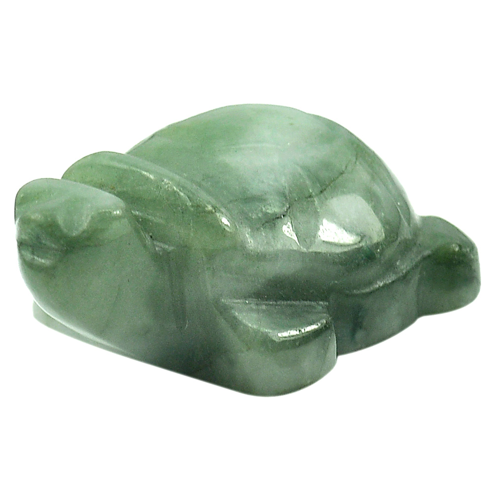 110.97 Ct. Turtle Carving Natural Gemstone Green White Jade Unheated