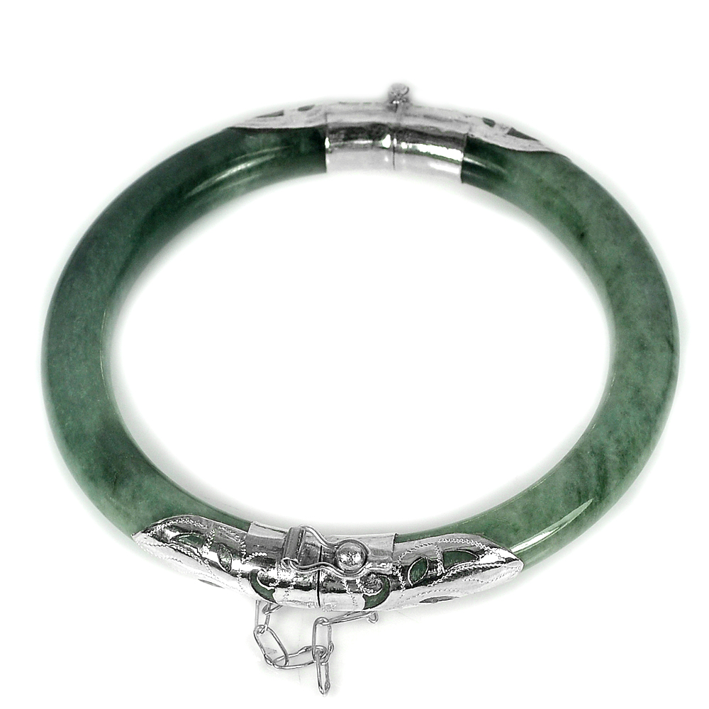 167.55 Ct.Diameter 59 Mm.Natural Gemstone Green Jade Bangle with Silver Unheated