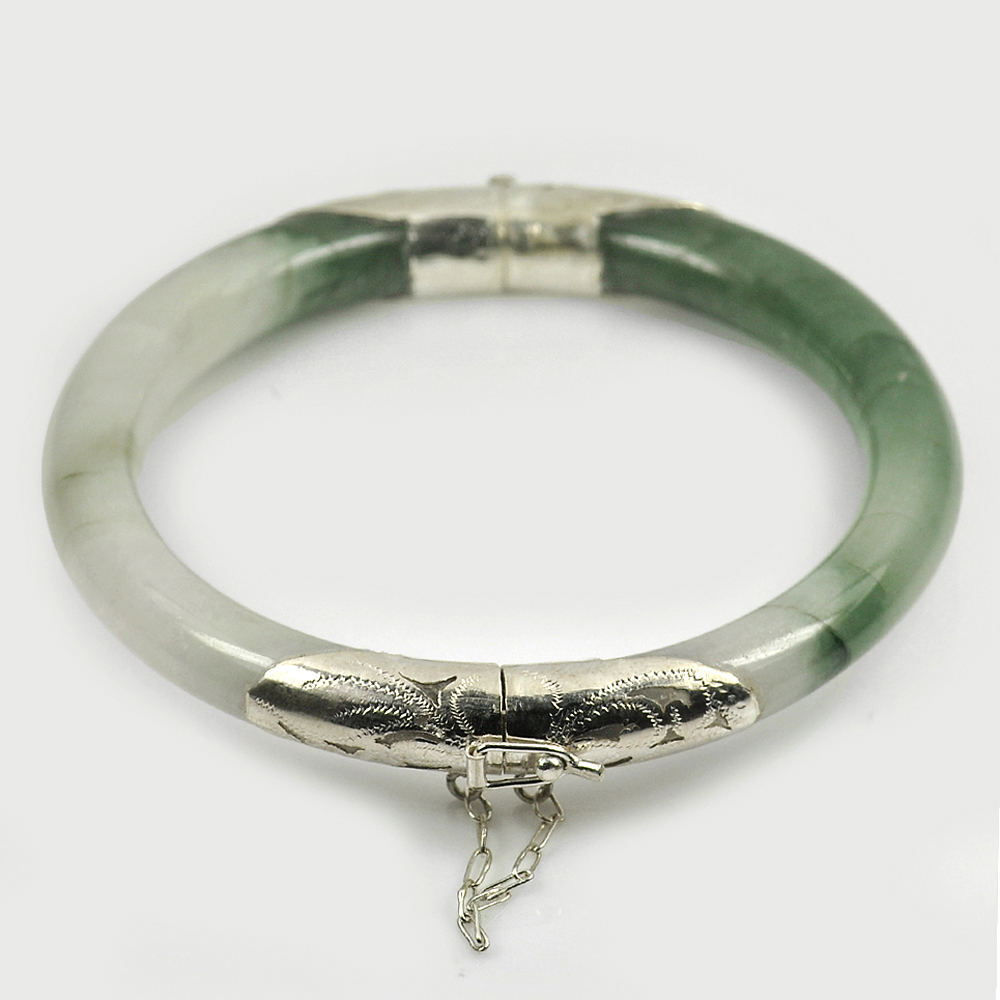 200 Ct. Natural Gemstone White Green Jade Bangle with Silver Size 77x60x9 Mm.