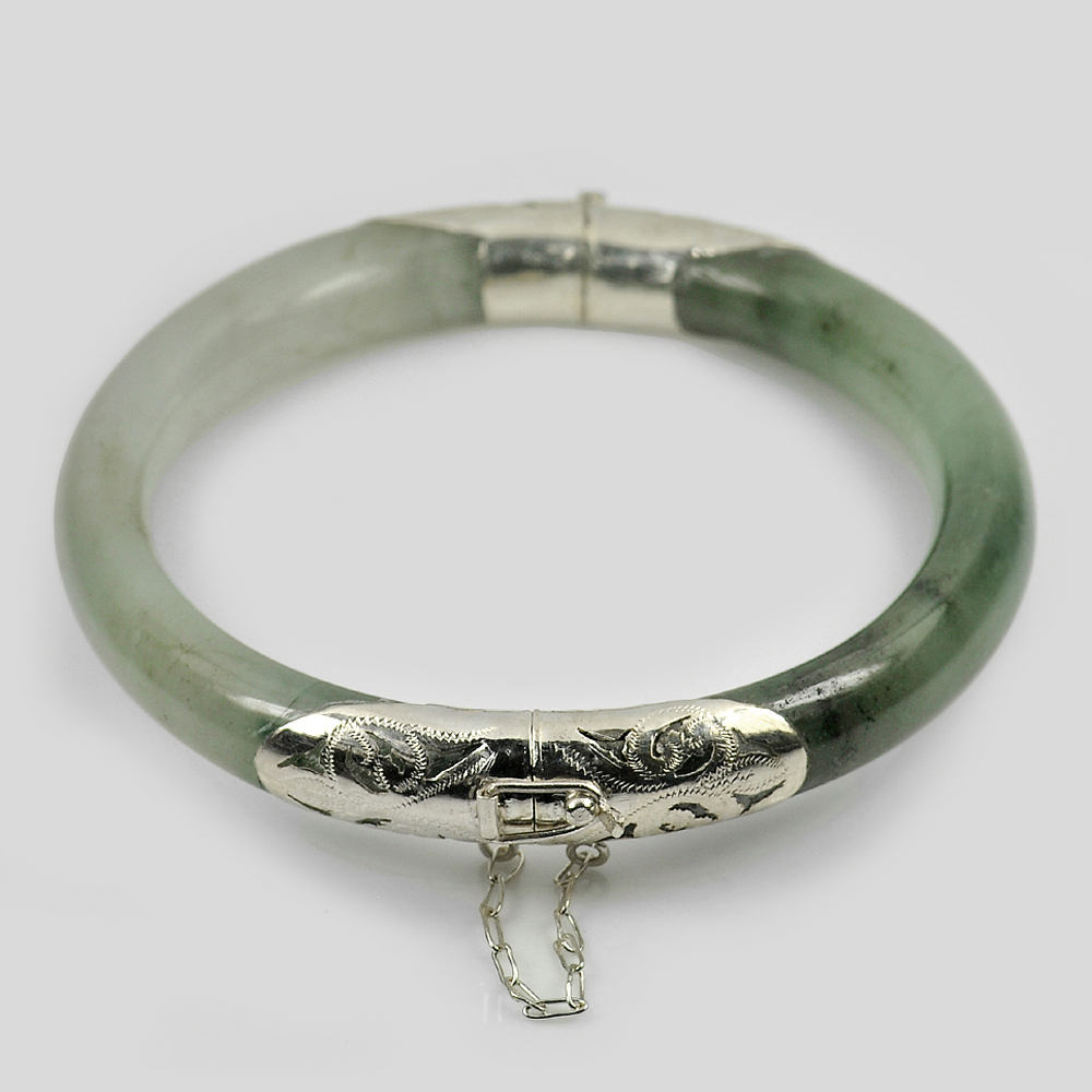 225 Ct. Natural Gemstone White Green Jade Bangle with Silver Size 77x60x9.8 Mm.