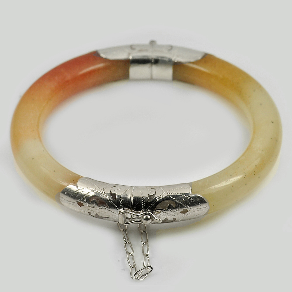 244.59 Ct. Size80x60x10mm.Natural Gemstone Brown Honey Jade Bangle with Silver