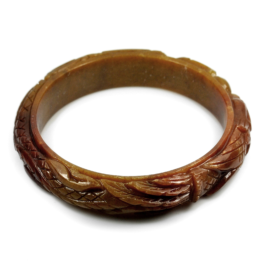 251.38 Ct. Natural Gem Brown Color Jade Bangle Dragon Carving Size 84x65x14 mm.