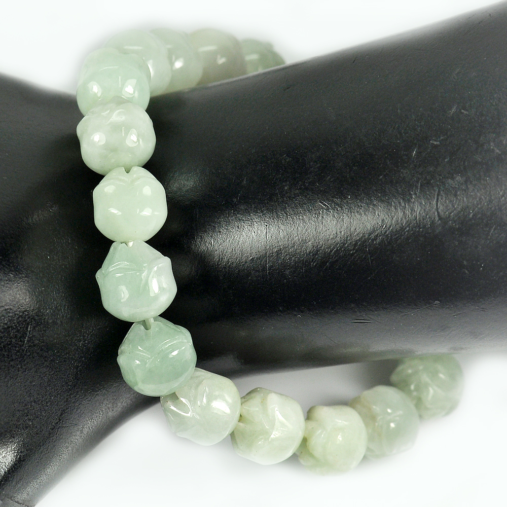 146.49 Ct. Natural Gem Green Jade Beads Flexibility Bracelet Carving 7 Inch.