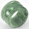 54.64 Ct. Beauteous Natural White Green Jade Ring Size 9.5 Unheated