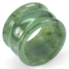 Good Color 48.08 Ct.  Natural White Green Jade Ring Size 9.5 Unheated
