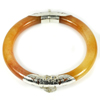 220.82 Ct.Natural Gem Brown Honey Jade Bangle Diameter65Mm.with Silver Unheated