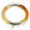 Unheated 213.95Ct. Diameter65Mm.Natural Gem Brown Honey Jade Bangle with Silver