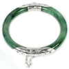 Unheated 200.02 Ct.Diameter 58 Mm.Natural Gemstone Green Jade Bangle with Silver