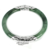 Unheated 171.55 Ct.Diameter 61 Mm.Natural Gemstone Green Jade Bangle with Silver