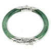 Unheated 170.63 Ct.Diameter 60 Mm.Natural Gemstone Green Jade Bangle with Silver