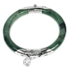 Unheated 177.89Ct.Diameter 57 Mm.Natural Gemstone Green Jade Bangle with Silver