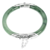 163.37 Ct.Diameter 56 Mm.Natural Gemstone Green Jade Bangle with Silver Unheated