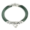 158.77 Ct.Diameter 55 Mm.Natural Gemstone Green Jade Bangle with Silver Unheated