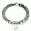 187.52 Ct.Diameter 58 Mm.Natural Gemstone Green Jade Bangle with Silver Unheated