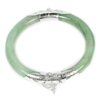Unheated 199.09 Ct.Natural Gemstone Green Jade Bangle Diameter 60 Mm.with Silver