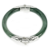 Unheated 179.80 Ct.Diameter 57 Mm.Natural Gemstone Green Jade Bangle with Silver