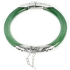 Unheated 125.95 Ct.Natural Gemstone Green Jade Bangle Diameter 57 Mm.with Silver