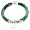 Unheated 193.22 Ct.Natural Gemstone Green Jade Bangle Diameter 56 Mm.with Silver