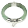 Unheated 293.32 Ct.Natural Gemstone Green Jade Bangle Diameter 50 Mm.with Silver