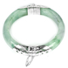 Unheated 323.46 Ct.Natural Gemstone Green Jade Bangle Diameter 59 Mm.with Silver