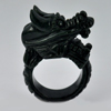Unheated 79.01 Ct. 42 x 16 Mm.Natural Gem Black Green Jade Dragon Ring Size 11