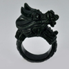 Unheated 78.57 Ct. 42 x 16 Mm.Natural Gem Black Green Jade Dragon Ring Size 10.5
