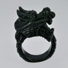 Unheated 71.56 Ct. Natural Gemstone Black Green Color Jade Dragon Ring Size 10.5