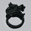 Unheated 77.06 Ct. Natural Gemstone Black Green Color Jade Dragon Ring Size 11
