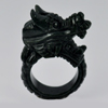 Unheated 79.72 Ct. Natural Gemstone Black Green Color Jade Dragon Ring Size 10.5