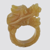 Unheated 78.45 Ct. Natural Gemstone Brown Honey Color Jade Dragon Ring Size 10