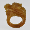 Unheated 80.95 Ct. Natural Gemstone Brown Honey Color Jade Dragon Ring Size 10