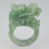 Unheated 121.25 Ct.  Natural Gemstone Green White Jade Dragon Ring Size 11.5