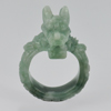 Unheated 61.31 Ct.  Natural Gemstone Green White Jade Dragon Ring Size 10.5