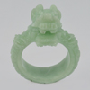 Unheated 56.97 Ct. 40 x 15 Mm. Natural Gem Green Color Jade Dragon Ring Size 10