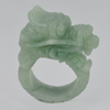 Unheated 120.54 Ct. 45 x 16 Mm. Natural Gem Green White Jade Dragon Ring Size 11