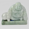 Unheated 550 Ct. Natural Gemstone Green White Jade Happy Smile Buddha Carving