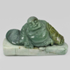 800 Ct. Natural Gemstone Green White Jade Happy Smile Buddha Carving Unheated