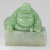 Unheated 210.92 Ct. Natural Gemstone Green White Jade Happy Smile Buddha Carving