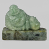 Unheated 306.57 Ct. Natural Gemstone Green Color Jade Happy Smile Buddha Carving