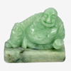 239.77 Ct. Natural Gemstone Green White Jade Happy Smile Buddha Carving Unheated