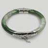 225 Ct. Natural Gemstone White Green Jade Bangle with Silver Size 77x61x9.4Mm.