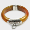 380.07 Ct. Size80x64x18mm.Natural Gemstone Brown Honey Jade Bangle with Silver