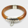 266.84 Ct. Size80x65x14mm.Natural Gemstone Brown Honey Jade Bangle with Silver