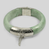 415.52 Ct. Natural Gemstone White Green Jade Bangle with Silver Size78x60x12Mm.