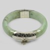 447.83 Ct. Natural Gemstone White Green Jade Bangle with Silver Size83x65x17Mm.