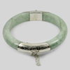 359.50 Ct. Natural Gemstone White Green Jade Bangle with Silver Size83x65x13Mm.